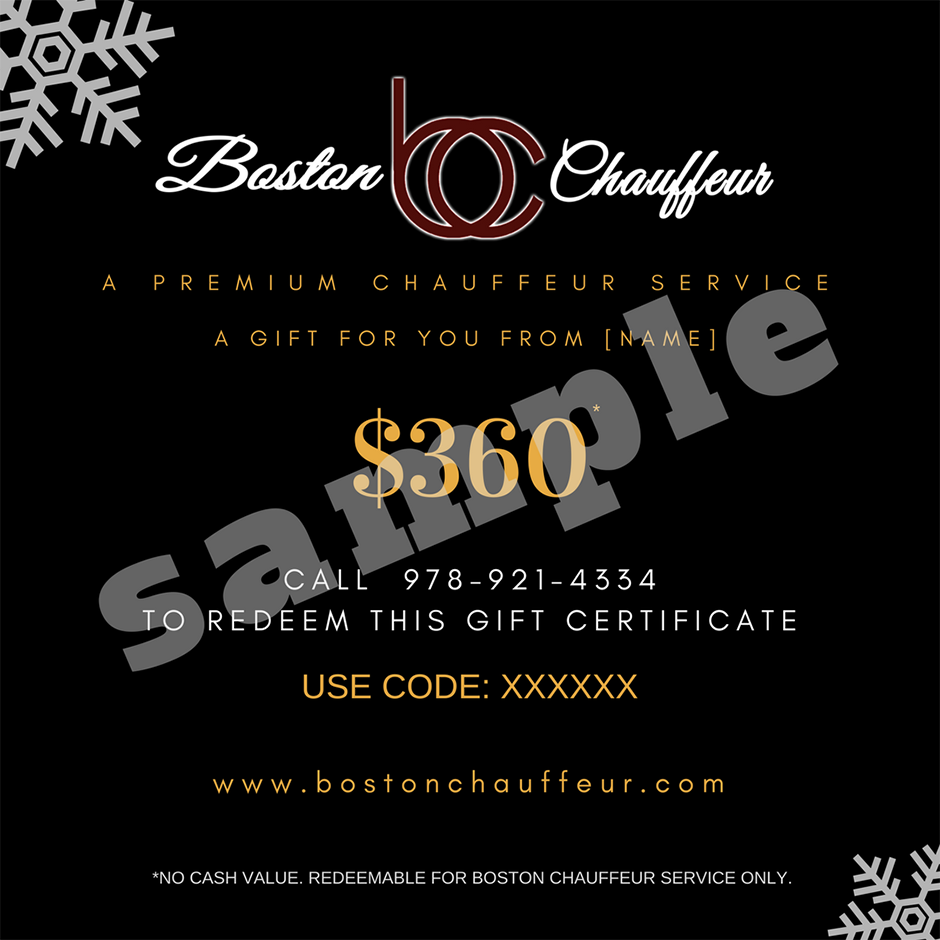 2017 Boston Chauffeur Gift Certificate Sample
