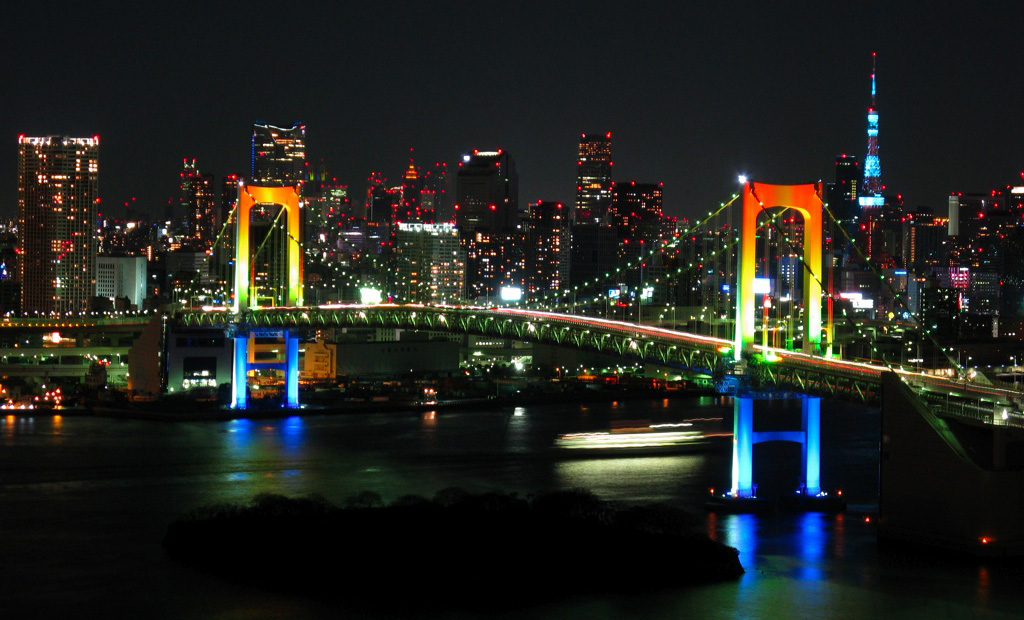 Japan Rainbow Bridge a _night Depositphotos_25681871