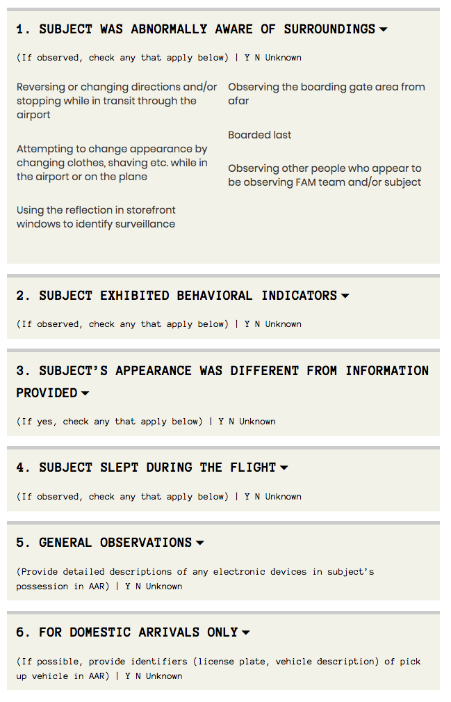 TSA observations list from TSA Documentation