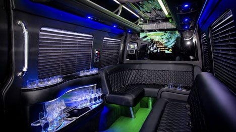 14 Passenger Mercedes Sprinter Limo Coach interior at Boston Chauffeur